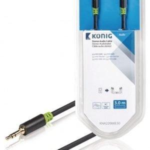 Stereo-audiokaapeli 3 5 mm:n urosliitin - urosliitin 3 00 m harmaa