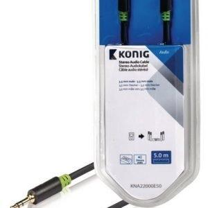 Stereo-audiokaapeli 3 5 mm:n urosliitin - urosliitin 5 00 m harmaa