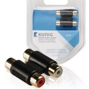 Stereo-audiosovitinkappale 2 x RCA-naarasliitin - 2 x naarasliitin 1 kpl harmaa