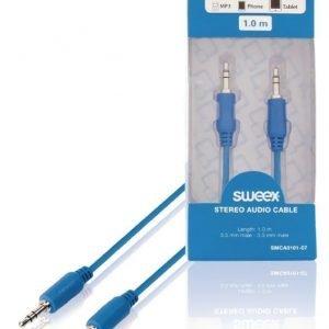 Stereoaudiokaapeli 3 5 mm:n urosliitin - urosliitin 1 00 m sininen