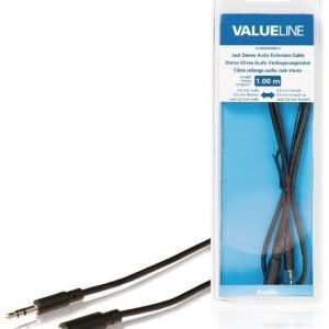 Stereoliittimellinen äänijatkokaapeli 3 5 mm uros - 3 5 mm naaras 1 00 m musta