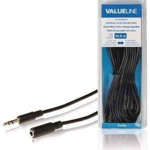 Stereoliittimellinen äänijatkokaapeli 3 5 mm uros - 3 5 mm naaras 10 0 m musta