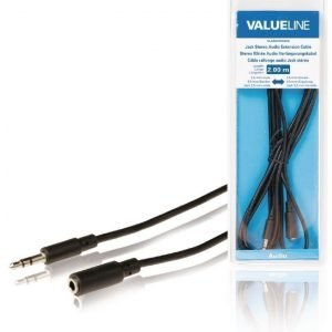 Stereoliittimellinen äänijatkokaapeli 3 5 mm uros - 3 5 mm naaras 2 00 m musta