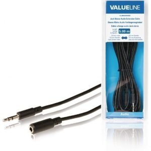 Stereoliittimellinen äänijatkokaapeli 3 5 mm uros - 3 5 mm naaras 5 00 m musta