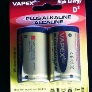 Vapex D Koko PLUS Alkali (Alkaline) Paristo - 2 kpl