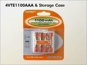 Vapex ladattava AAA NiMH akku - 1100 mAh - 4 kpl + kotelo