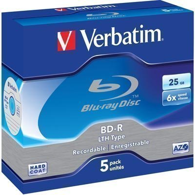 Verbatim BD-R 6x 25 GB/200 min 5-pakk jewel case LTH HARD COAT