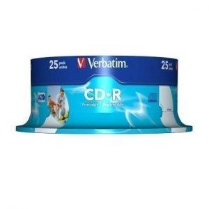 Verbatim CD-R Verbatim 52x 25p 80 min/700 MB Spindle ID Brand Printable