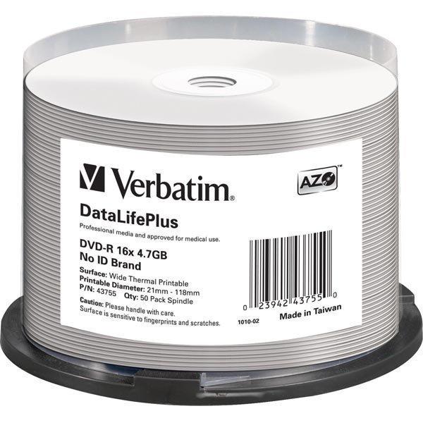 Verbatim DVD-R 16X Wide Thermal print Pro Non ID Brand 50-pakkaus