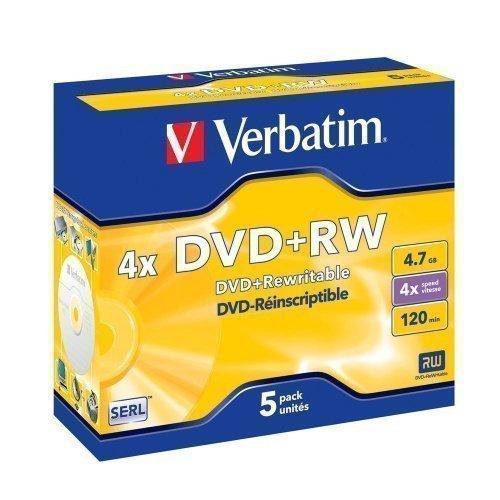 Verbatim DVD+RW Verbatim 4.7GB 5pack 4X Branded matt silver