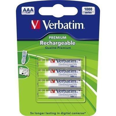 Verbatim ladattavat paristot AAA(LR03) Ni-MH 1000mAh 1 2V 4-pakkau