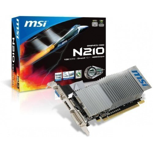 Videocard-PCI-Express-NVIDIA MSI GeForce 210 1GB DDR3 DVI VGA HDMI PCIe
