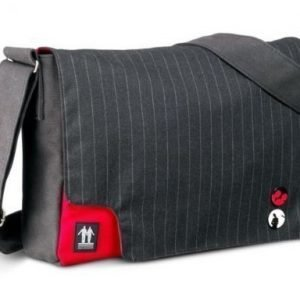 Walk On Water Walk On Water Messenger Bag Black Canvas Grey Striped 15''