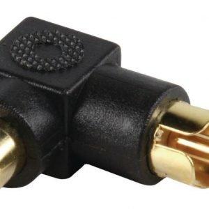 adapteriiliitin angled RCA uros - RCA naaras (kullattu)
