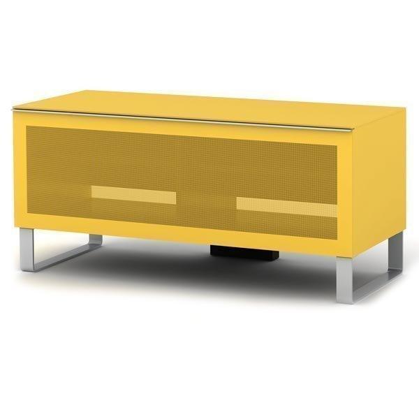 elmob Exclusive - Moderni mediataso lasinen etuosa 2 hyllyä keltai