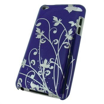 iPod Touch 4G iGadgitz Butterfly Hard Cover Purple / Silver