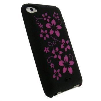 iPod Touch 4G iGadgitz Kukkakuvioitu Silikonikotelo Musta / Pinkki