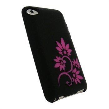 iPod Touch 4G iGadgitz Tattoo Kukkakuvioitu Silikonikotelo Musta / Pinkki