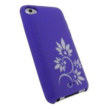 iPod Touch 4G iGadgitz Tattoo Kukkakuvioitu Silikonikotelo Violetti / Valkoinen