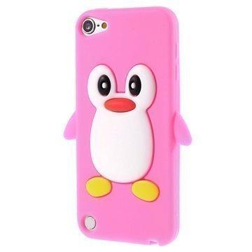 iPod Touch 5G 3D Penguin Silikoninen Suojakuori Kuuma Pinkki
