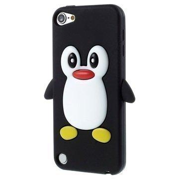 iPod Touch 5G 3D Penguin Silikoninen Suojakuori Musta
