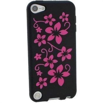 iPod Touch 5G iGadgitz Kukkakuvioitu Silikonikotelo Musta / Pinkki