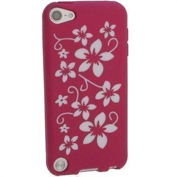 iPod Touch 5G iGadgitz Kukkakuvioitu Silikonikotelo Pinkki / Valkoinen