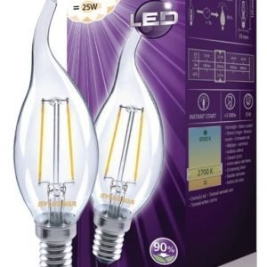 kynttilä Bent-tip 250LM 827 LED-lamppu hehkulanka E14 2W